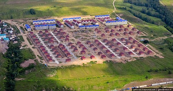 Фото, вид на коттеджный посёлок «Красная горка» с высоты птичьего полёта