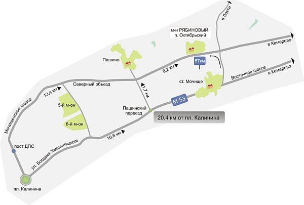 Схема проезда в коттеджный посёлок Микрорайон Рябиновый (посёлок Октябрьский)