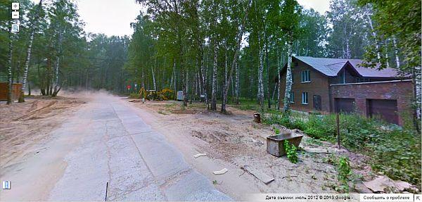 Фотография строительства в коттеджном поселке Серебряный Лес (Новосибирск), фото с Панорамы Гугл