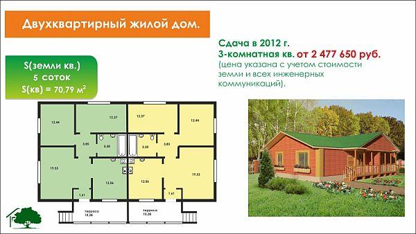 Проект деревянного дома одноэтажного на двуххозяев 124