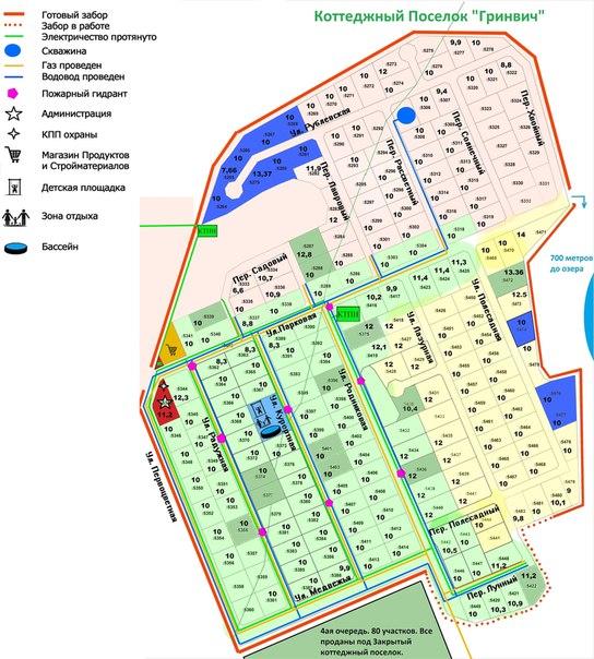 Генеральный план коттеджного поселка «Гринвич» в районе Плотниково, Новосибирская область