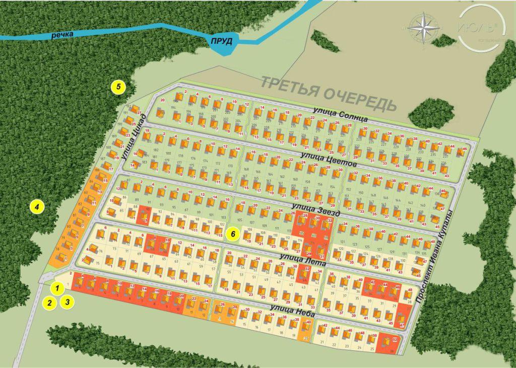 Генплан коттеджного посёлка, свободные и забронированные участки, актуальность - август 2015 г