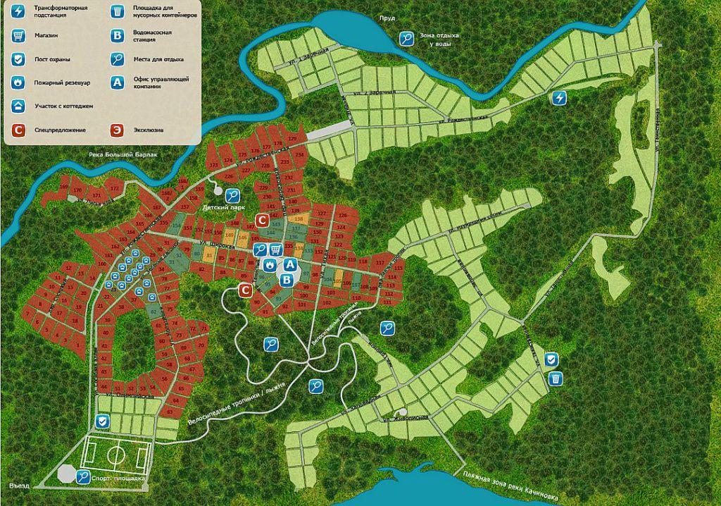 Генеральный план коттеджного посёлка «Лаки парк» (две очереди строительства) — темно-зеленым цветом отмечены непроданные участки первой очереди, светло-зелёным - вторая и третья очереди